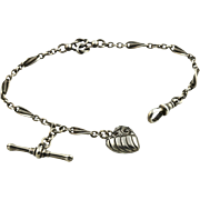 Antique Victorian Silver Albertina Bracelet with Repousse Heart and T-bar c.1880