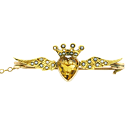 Edwardian 9ct Gold Antique Crowned Heart Brooch -c.1901