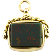 9ct Gold Agate and Bloodstone Antique Spinning Fob Pendant- Circa 1850