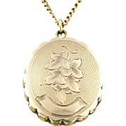 Beautiful Antique 9ct Gold Locket with Ivy Leaves, and 9ct Gold Chain -c.1850