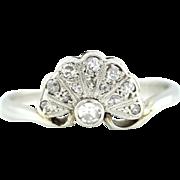 ON HOLD! - Charming Art Deco 18ct Gold & Platinum Diamond Fan Ring -c.1920