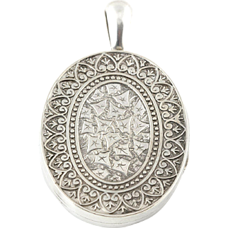 Large Antique Victorian Silver Repousse Locket with Intricate Engravings - c.1850