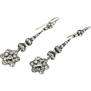 Gorgeous Antique Edwardian Silver and Paste Flower Drop Earrings -c.1905