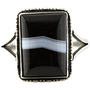 Fine Arts and Crafts Period Antique Silver Banded Agate Ring -c.1910