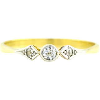 18ct Yellow Gold Art Deco Diamond Engagement Ring -c.1920