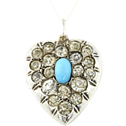 Pretty Antique Silver Paste Heart Pendant with Turquoise Center -c.1850