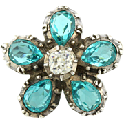 Amazing Art Deco Silver Paste Flower Brooch -c.1930