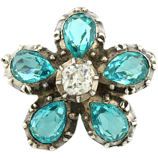 Amazing Art Deco Silver Paste Flower Brooch -c.1930