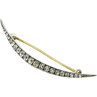 Beautiful Victorian Silver Paste Crescent Moon Brooch- c.1900