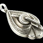 Rare Antique Silver Arrow Pendant- c.1906