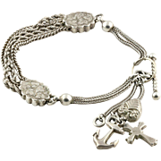 Antique Victorian Silver Albertina Bracelet, with Faith Hope & Charity Charms and  T-bar c.1880