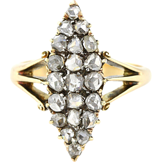 Superb 2ct Victorian Rose Cut Diamond Navette Ring - c.1800