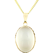 "Vintage 9ct Gold Moonstone Pendant & 16"" Chain"