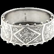 Antique English Silver Victorian Aesthetic Bangle -c.1884