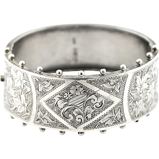 Antique English Silver Victorian Aesthetic Bangle -c.1884