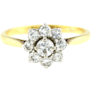 18ct Gold Edwardian Diamond Cluster Engagement Ring (0.50ct) -c.1909