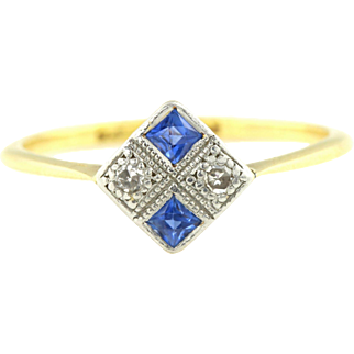 18ct Gold Art Deco French Cut Sapphire and Diamond Ring