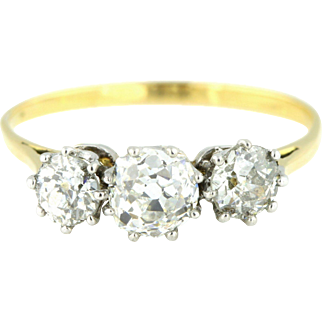Fine 18ct Gold Art Deco Diamond Trilogy Ring  ,(1ct) - c.1920