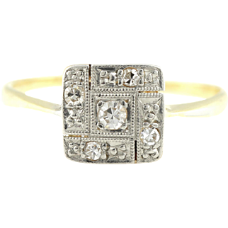 Fine Art Deco 18ct Gold Diamond Cluster Ring - Circa 1920
