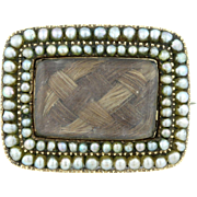 Antique 9ct Gold Georgian Pearl Mourning Brooch c.1820