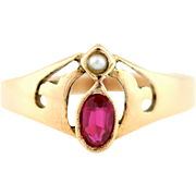 Rare Antique 8ct Rose Gold Ruby Pearl Ring c1910