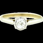 Antique Edwardian 18ct Gold Old European Cut Diamond Ring (0.50ct)