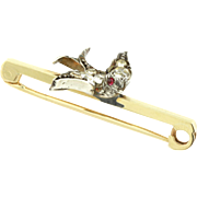Victorian Silver Paste Bird Brooch with 9ct Gold Pin c.1890