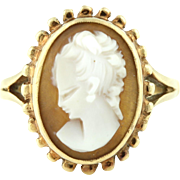 Pretty Vintage 9ct Gold Cameo Ring c.1992