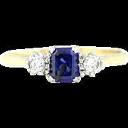 18ct Gold Art Deco Sapphire & Diamond Trilogy Engagement Ring c.1920