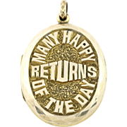 "Antique Gold Locket 9ct- ""Many Happy Returns"""
