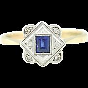 18ct Gold and Platinum Art Deco Sapphire Diamond Engagement Ring c.1920