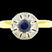 "18ct Gold Art Deco Sapphire Diamond ""Flower"" Cluster Ring c.1920"