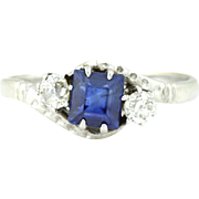 18ct Gold Art Deco Sapphire and Diamond Trilogy Ring c.1920
