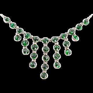 Victorian Green Paste Cascade Necklace c.1880