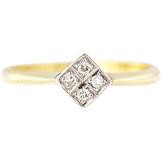 Art Deco 18ct Gold Diamond Cluster Ring c1920