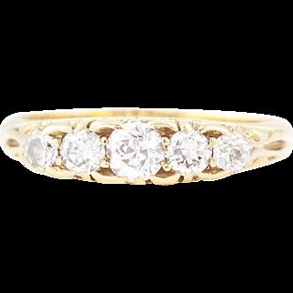 18ct Gold Antique 5 Stone Diamond Ring (0.31ct) c.1916