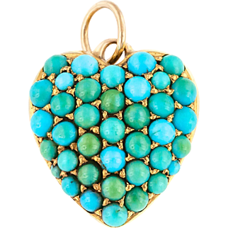 15ct Gold Victorian Turquoise Heart Charm Pendant c.1880