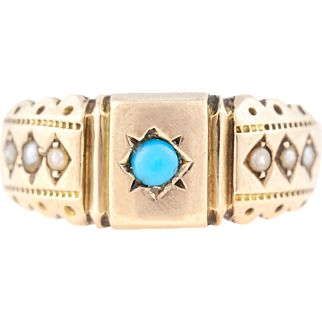 9ct Gold Victorian Turquoise Ring - c.1891