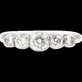 18ct Gold Art Deco 5 Stone Diamond Ring (0.85ct)