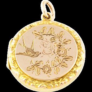 Edwardian 9ct Gold Locket with Little Bird c.1910