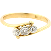 Art Deco 18ct Gold & Diamond Trilogy Ring- Circa 1920's