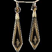 Rare Late Victorian Tortoiseshell Pique Earrings- Circa 1880