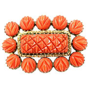 Antique Carved Coral & 9ct Gold Glazed Mourning Brooch