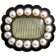 Gorgeous 15ct Gold Antique Natural Pearl & Enamel Mourning Brooch- (1836)