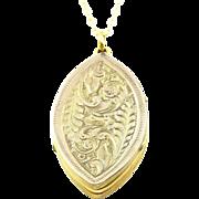 Rare Victorian 9ct Gold Gothic Revival Navette Locket - Circa 1840