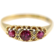 Superb Fine Antique 18ct Yellow Gold Ruby & Diamond Ring- Circa 1902
