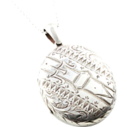 Large Victorian Silver Locket with Buckle Motif & Chain - Circa 1880