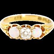 Superb Art Deco 18ct Gold Opal & Diamond Trilogy Ring- Circa 1928