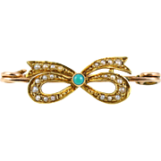 Sweet Antique 15ct Gold Bow Brooch - Circa 1910