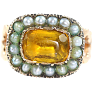 Georgian Pearl & Paste 18ct Gold Ring -Circa 1800